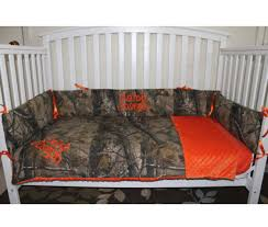 astonishing custom made crib bedding for hunters who like mossy oak and picture of camo orange