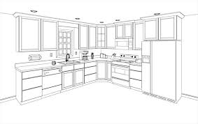 simple kitchen drawing. Plain Kitchen Simple Kitchen Drawing Intended