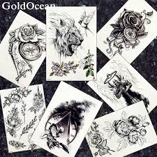 поддельные 3d Lion татуировки наклейки мужчины Arm Scorpion временные татуировки женщины