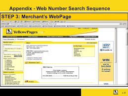 22 p 22 step 3 merchant s webpage appendix web number search sequence