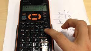 regression equation using sharp el 533x