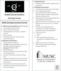 Musc Doctors Note Discharge Note Template