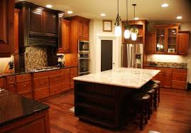 Pictures Of Kitchens With Cherry Cabinets Round White Pendant