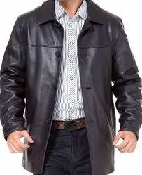 men s black leather car long jacket