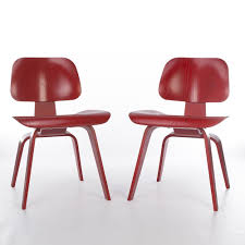 red wood dining chairs. Dark Red Pair (2) Herman Miller Original Eames DCW Wooden Dining Chairs Wood G