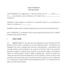 Catering Agreement Contract For Catering Services Template Catering Sample