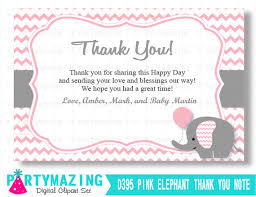 Thank You Cards Baby Shower Baby Shower Thank You Cards Printable Elephant Thank You Note