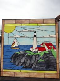 classic east coast lighthouse sailboat leaded stained glass window 24 x 24 in