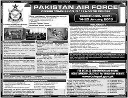 Officer Service Commission In Pakistan Air Force 2019 Job