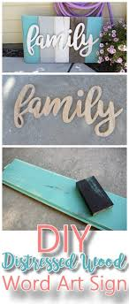 DIY Family Word Art Sign Woodworking Project Tutorial - Turquoise Tones New  Wood Distressed to look