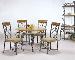 Ornate Wrought Iron Chairs With Stylish Round Table For Outdoor
