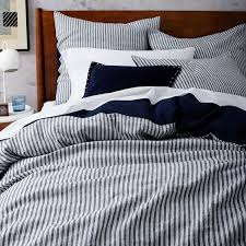 striped navy and white bedding
