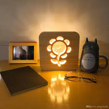 2019 sunflower 3d lamp wooden nightlight led table desk lamp usb power home bedroom decoration lamp 3d wood carving pattern led night light from