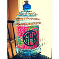 Decorated Water Bottles Spring Break Decorated Water Bottle monogram lilly crafts 1