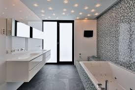 impressive recessed lighting and decorative monochromatic mosaic wall tiles for small bathroom plan with charming glossy floating vanity