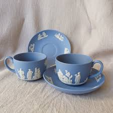 Wedgwood Tea Cups And Saucers Set Of  Roman Motif Blue - Kitchens by wedgewood