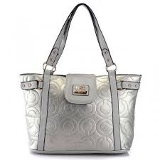 Coach In Printed Signature Large Silver Totes 524