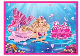 Barbie Mermaid A4 Edible Icing Cake Topper Ebay