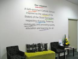 mission statement with colorful graphics made into vinyl  on business logo wall art with the power of mission statement walls the simple stencil