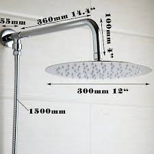 modern chrome wall mounted 12 round rain shower head shower arm with hose set