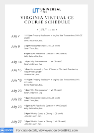 View additional virginia insurance ce offerings renew your insurance license with one of kaplan financial education's course libraries, a live online class, or an individual online course. Universal Title This Is A Friendly Reminder To Sign Up For Our Va Ce Courses This Month To Register Go To Https Www Eventbrite Com O Universal Title 25046529961 Facebook