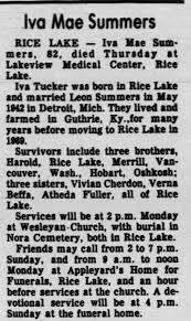 Iva Mae Tucker Summers Obituary - Newspapers.com