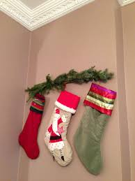 Hanging stockings without a mantle.