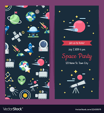 Space Party Invitation Flat Space Icons Party Invitation Template