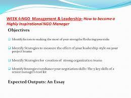 introduction the week ngo management leadership online 15 week
