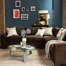 Blue walls brown furniture Goes Blue Wall The Rich Blue And The Cozy Brown Couch 2mcclub 119 Best Living Room Ideas Images House Decorations Arredamento