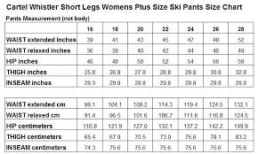 Female Size Chart Australia Cartel Whistler Womens Plus Size Ski Pants Sl Magenta Sizes 18 26