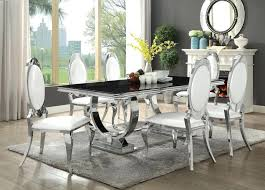 chrome table and chairs 7 collection chrome metal base dining table set with black glass retro