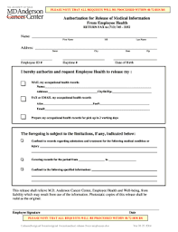 Request For Medical Records Form Template Md Anderson Medical Records Form Fill Out And Sign