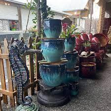 large blue glazed ceramic planters
