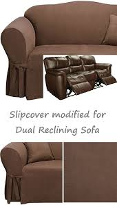 dual reclining sofa slipcover suede