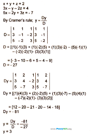 the equations solve for y by determinants