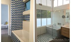 the blue and white zig zag of modern cement tiles in bathroom