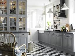 Checkered Kitchen Floor Kitchen Usual Ikea Kitchen White Lamps Grey Cabinets White Walls