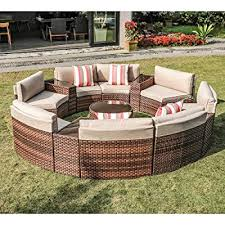 outdoor 13 piece round sectional set