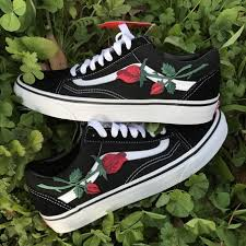 vans with roses. rose embroidered vans with roses k
