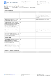 Quality Assurance Plan Checklist Free And Editable Template