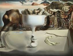 the apparition of face and fruit dish on a beach 1938 by salvador dali