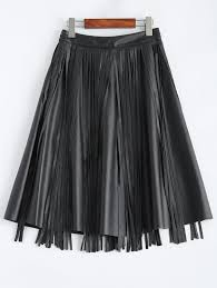 197479202 a line pu fringe skirt black material faux leather length knee
