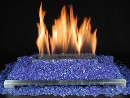 blue fire glass with stainless steel ventless gas fireplace burner