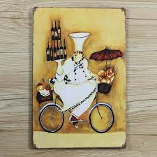 kitchen chef with wine retro painting wall art metal painting bars art wall home decor house cafe tin sign 20 30 cm hot sale in painting calligraphy from  on retro kitchen metal wall art with kitchen chef with wine retro painting wall art metal painting bars