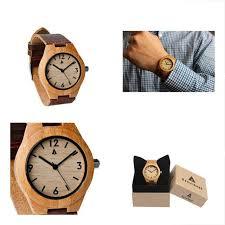 hut005 wrist watches og quartz wooden bamboo leather strap