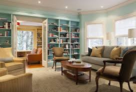 Painting adjoining rooms different colors Connecting Rooms Painting Adjoining Rooms Different Colors With Eclectic Living Room And Aqua Armchair Blinds Blue Bookcase Bookshelves Built In Built In Bookcase Coffee Finefurnishedcom Painting Adjoining Rooms Different Colors With Eclectic Living Room