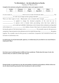 7w Introduction to Rocks worksheet