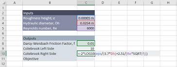 Colebrook Equation Solver In Excel Engineerexcel