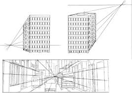 Delighful Perspective Drawings Of Buildings Top View Building Point On Perfect Ideas